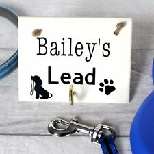 Personalised dog lead holder hook- wooden- hand painted Hanger Wall