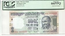 INDIA 2016 100 RUPEES FIRST PREFIX SOLID NUMBER 0AA 333333 PCGS 66PPQ