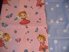 coupons tissu petites fées   + pois bleu