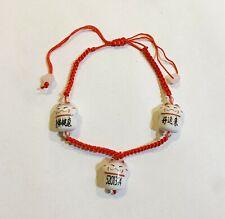 3 pc lot Macrame Chinese Red String Porcelain Good Luck Friendship Bracelet
