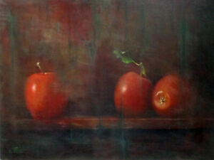 EITAN FRIED (1953-), Large Oil on Canvas, Apples Still Life, Signed, Early Work