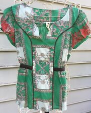 Anthropologie Floreat Container Garden Silk Top Green Embroidered Sleeves Sz 4