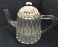 Darling Vintage (?) Clear Glass Teapot With Infuser & Lid, With A Striped Effect