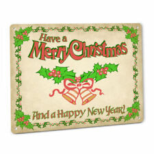 Have A Merry Christmas Retro Metal Sign Holly Bells New Year Ornament Decoration