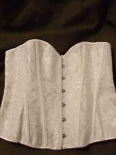Unbranded White Boned Jacquard Lace Up & Hook & Eye Bridal Bustier/Corset 2XL