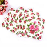 20X/Bag Flower Rose Print Wedding Party Napkins Wedding Table Decorations Pip DD