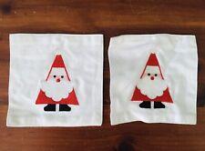 Crate & Barrel Cloth Santa Coasters Christmas Decor 2 Of 8 Coasters 100% Cotton
