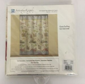 Saturday Knight Limited Fabric Shower Curtain Gone Surfing Surfs Up Woody Wagon