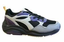Diadora Whizz Run Lace Up Mens Running Trainers Black Purple Leather Shoes C8022