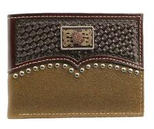 Ariat Western Mens Wallet Leather Bifold Studs Weave Embossed Concho A3540002