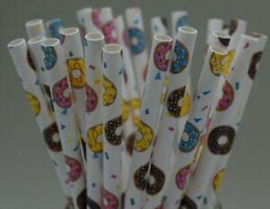 Paper straws party wedding birthday doughnut donut stripe UK Quantity x 25
