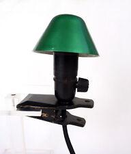 Vintage Goldige grüne Metall & Holz Pilz Klemmlampe Buchlese-Lampe Drehschalter