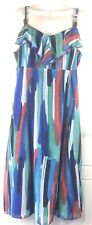 Multicoloured Tie-dye Dress 12 Holiday Party  Ruffle Evening M&S Strappy Wedding