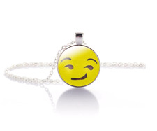 Smirking Emoji Crystal Glass Pendant Necklace Jewelry Gift Bag- Silver