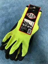 New  B&G Gloves Size X-Large Latex Coated Hiviz Yellow Knit Glove