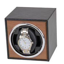 Vertical Leather Wood Electric Automatic Watch Winder Storage Display Box