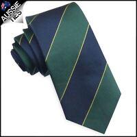 Australian Colours Tie - Blue, Green & Gold Stripes Mens Necktie cricket colours