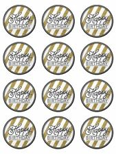 Happy birthday black gold birthday edible cupcake Toppers Wafer or Icing x 12