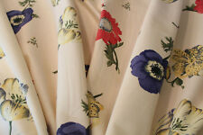 American Beauty, a large scale floral decorator fabric on cream background