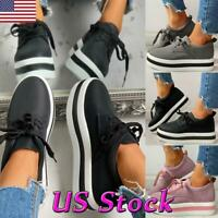 Fashion Women Lace up Casual Platform Pumps Shoes Slip On Comfy Loafers Sneakers