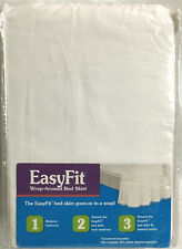 Ellery EasyFit Wrap-Around Bed Skirt White w/ Pom Pom Trim Queen/King