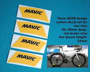 MAVIC TEAM AG2R CUSTOM REPLACEMENT RIM DECAL SET FOR 50mm RIM BRAKE RIMS