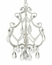 Wrought Iron & Crystal 1 Light Mini Chandelier Pendant White Lighting NEW 1 Ligh