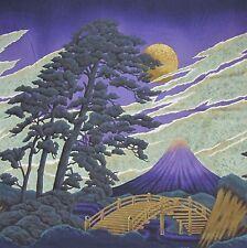 Japanese Cotton Fabric Kona Bay Panel Mt Fuji Gold Moon and Pine