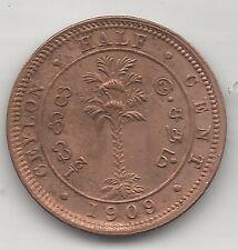 CEYLON, SRI LANKA, 1909, 1/2 CENT,COPPER, KM#101, EXTRA FINE-ALMOST UNCIRCULATED