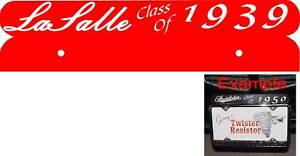 """LaSalle License Plate Topper """"Class Of"""" 3 color choices"""