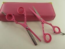 "5.5""Professional Hair Cutting Thinning Scissors Barber Shears Hairdressing Pink"