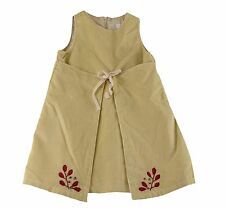 JACADI Girl's Ardent Feather Beige Robe Dress Leaf Detail Age: 4 Years NWT $69