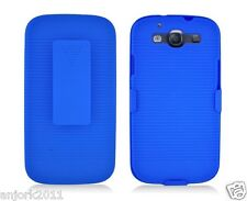 Samsung Galaxy S3 III Hard Case + Holster Combo w/ Swivel Stand Blue