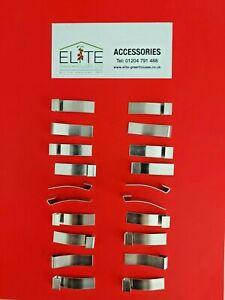 GENUINE Elite 20 x Greenhouse Rust Free Aluminium Glazing Overlap Clips Flexible
