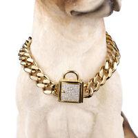 Pet Dog Collars Choke Gold Cuban Chain Dog Necklace Steel Zirconia Lock 14mm