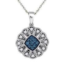 Blue Diamond Pendant 10K White Gold Blue & White Diamond Cluster Pendant .21ct