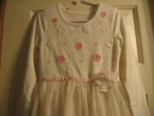 ~Flapdoodles~ Girl's Size 5 Off White w'Pink/Silver Metallic Longsleeve Dress