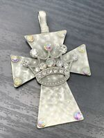 Vintage Clear AB Crystal Rhinestone Silver Tone Cross  Necklace  Enhancer