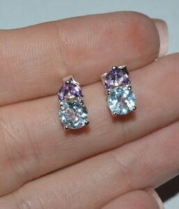 STERLING SILVER BLUE TOPAZ AMETHYST AND CITRINE PENDANT AND EARRINGS SET