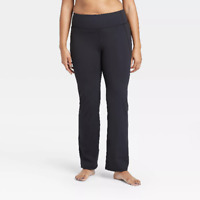 ALL IN MOTION CONTOUR POWER WAIST MID-RISE STRAIGHT LEG PANTS BLACK XL NEW