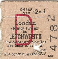 B.R.B. Edmondson Ticket - London Kings Cross to Letchworth