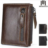 New 100% Genuine Leather Mens Fashion Wallets ZIPPER Coin Purse Vintage Style