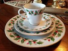 China Pearl Noel Christmas Holiday Dishware Place Setting Plates Cup & Saucer