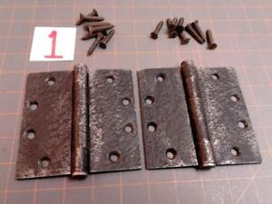 Vintage Iron Pair Acorn Warwick Style Butt Hinges Faux Hammered Finish w Screws