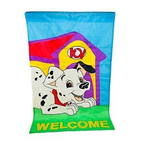 Vintage 1997 Rare Disney 101 Dalmatians Outdoor Yard Welcome Flag