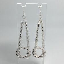 Silver Knot.Harlequin Snake Chain Loop Extra Long Earrings 8 Cm Long D266