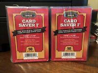 100 Cardboard Gold Card Saver 1 Graded Card Semi-Rigid Holders 2 Packs of 50