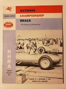 1956 NHRA NATIONALS ORIG. PROGRAM 2ND FINALS DRAG RACING AUTO HOT RODS FUNNY CAR