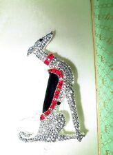 Wonderful vintage Art Deco design greyhound Borzoi dog rhinestone brooch