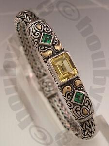Samuel Behnam BJC Sterling Silver 18K Lemon Quartz/Green Quartz Bracelet
